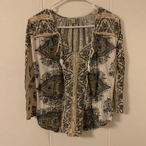 Lucky Brand Tassels Cream & Blue Blouse Size Small